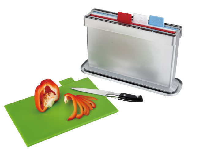 4pcs index chopping board with water pan, two sides knife shelves
