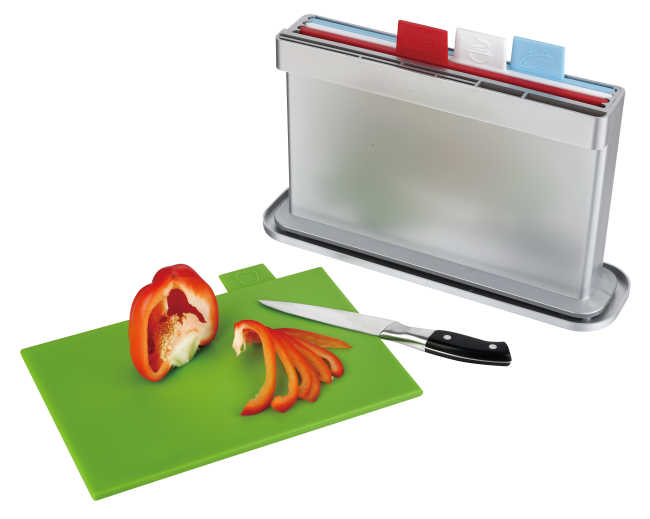 4pcs index chopping board with water pan, one sides knife shelves