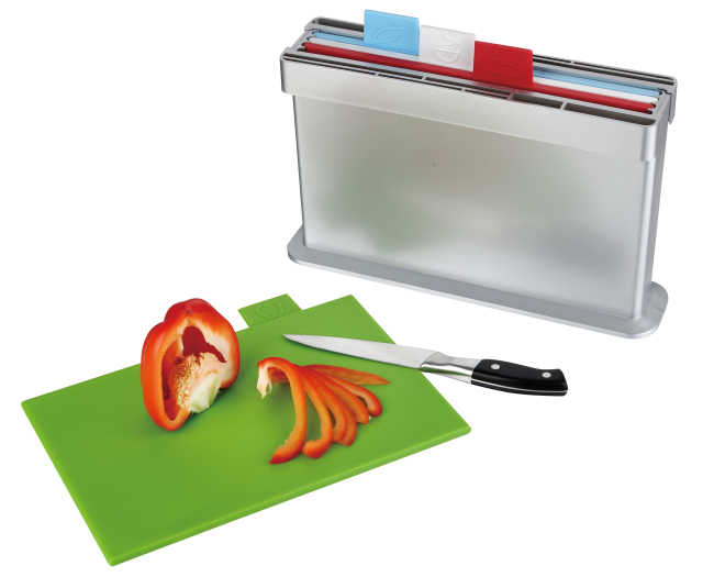 4pcs index chopping board, two sides knife shelves