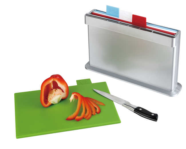 4pcs index chopping board, one sides knife shelves