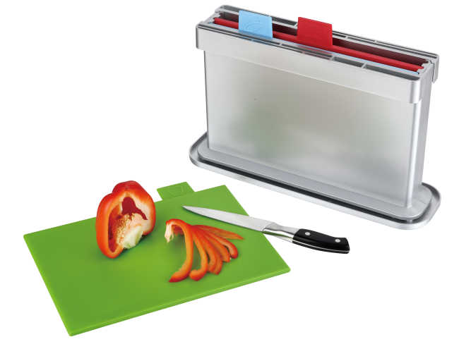 3pcs index chopping board with water pan, two sides knife shelves