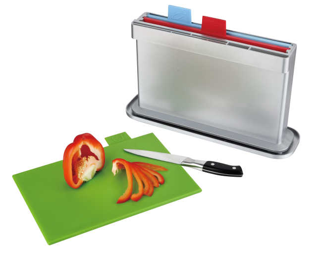 3pcs index chopping board with water pan, one side knife shelves