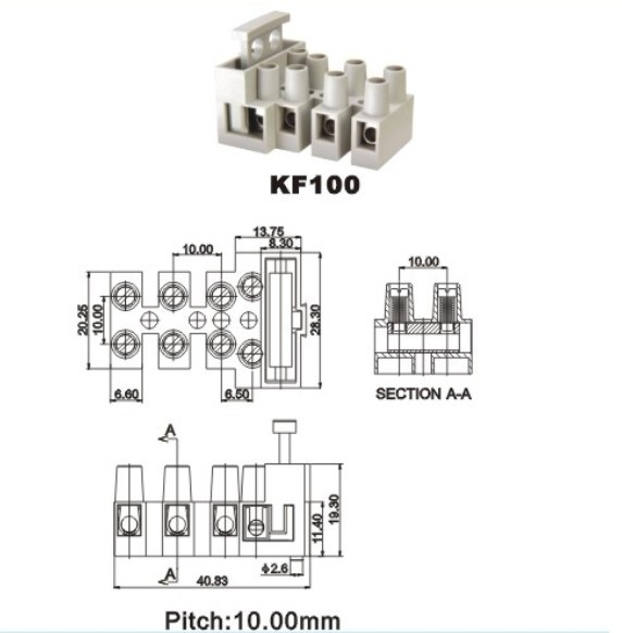 terminal block fused 10mm 6 3a from china manufacturer
