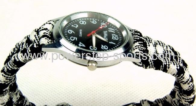 Fashion parachute cord bracelet for escape with watch