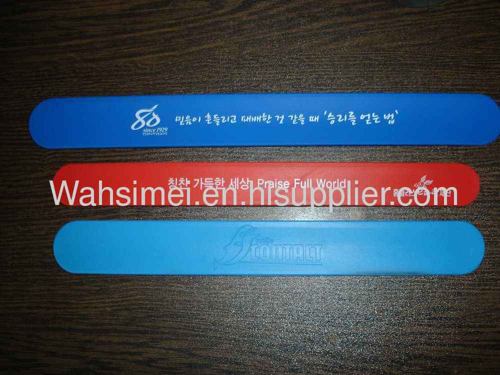 Colorful LOGO silk printed silicone slap bracelets