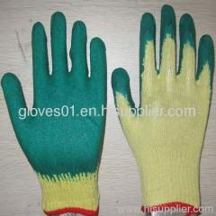 green latex coated working gloves LG1506-7