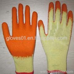 orange latex coated working gloves LG1506-8