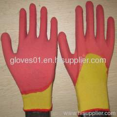 pink latex coated working gloves LG1507-7