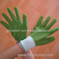 green latex coated working gloves LG1507-17