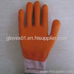 orange latex coated working gloves LG1507-18