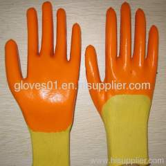yellow PVC coated working gloves PG1511-7