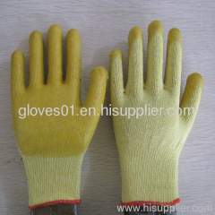 yellow PVC coated working gloves PG1514-2