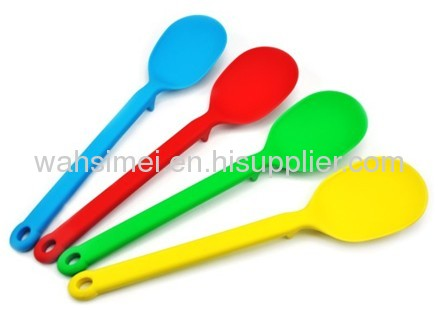 Colourful silicon kitchen soup spoons