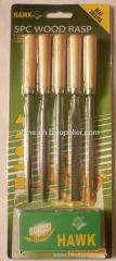 5pcs wood needle rasp with wood handle