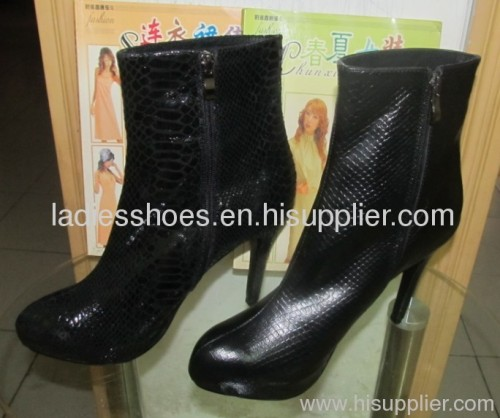 fashion black high heel women boots with zipper