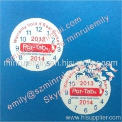 date warranty seal sticker