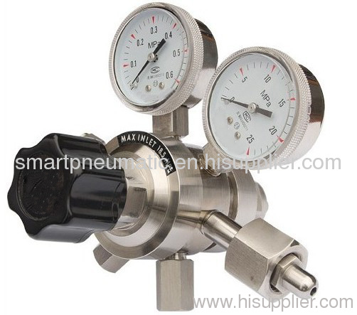 Single stage and two stage precision pressure regulator.
