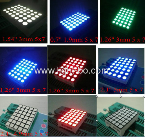 5 x 7 Round & Square Dot Matrix Displays LED, viene con diferentes tamaños y colores