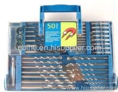 50pc mix Power Drill Bit Set in transparent plastic case