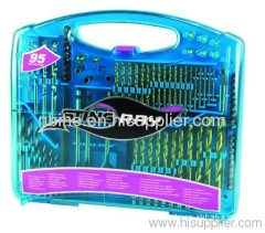 DIN33 95pc mix Power Drill Bit Set blue plastic mould case