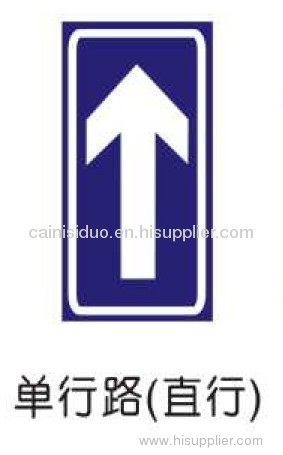 Traffic highway signage one-way road go straight informative sign