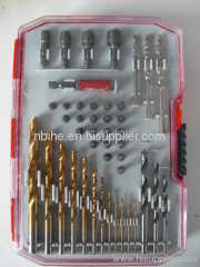 iwork 44pcs drill and screwdriver bit set transparent plastic mould box pakcing