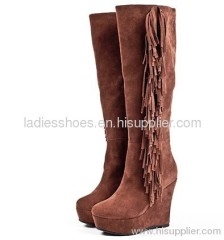 Suede Leather knee wedge dress Boots