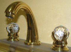 PVD GOLD WIDESPREAD LAVATORY BATHROOM SINK FAUCET crystal ha