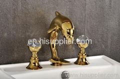 Chrome Widespread Lavatory Bathroom Sink Dolphin Faucet
