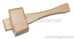 Wooden mallet hammer work with wood chisel