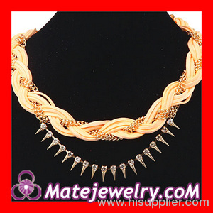 Braided Chain Leather Necklace