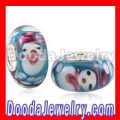 Authentic european Murano Glass Snowman Beads In 925 Silver Core Wholesale
