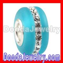 Frosted european Murano Glass Charm Bead With Swarovski Crystal Wholesale