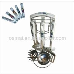 Seven-piece porcelain handle kitchen utensils