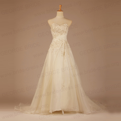 A Line Luxury Embroidered Wedding Gown