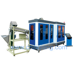 Fully automatic blowing machine for handled bottle