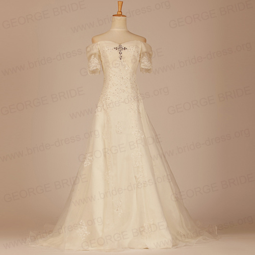 GEORGE BRIDE A Line Short Sleeves Lace Wedding Dress with Appliques