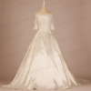Satin Wedding Dresses with Alencon Lace Sleeves Coat Outside