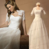 Real wedding dress pictures--Organza wedding dresses with Alencon lace bolero