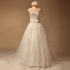진짜 웨딩 드레스 사진 - 실버 수 놓은 새틴 웨딩 드레스
