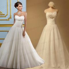 A Line Strapless Vestidos de novia de organza con detalles de plumas