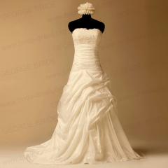 Silky Taffeta picks-up wedding dresses with Beaded Appliques