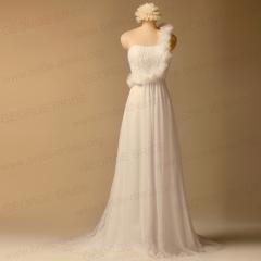 One Shoulder Chiffon Beach Wedding Dresses