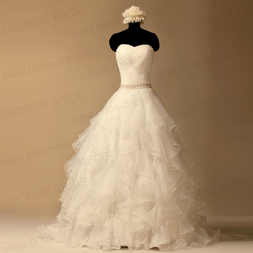 Sweetheart Layered Organza Wedding dresses with silver band