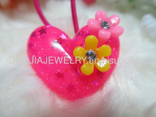 Fancy Handmade DBFS1104 Heart Shape Hair Rubber Band with Resin Design/Hair Elastic Band, Hair Accessories, multi color