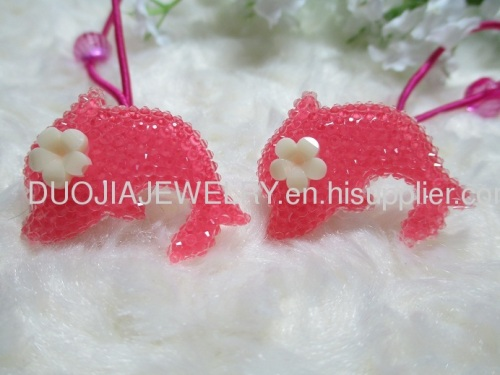 2012 fashion Fancy Handmade DBTS1101 Lovely Dolphin Shape Hair Rubber Bands with Resin Design/Hair Elastic Bands