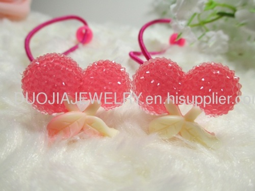 DBTS1102 Sweet Cherry Shape Hair Rubber Bands with Resin