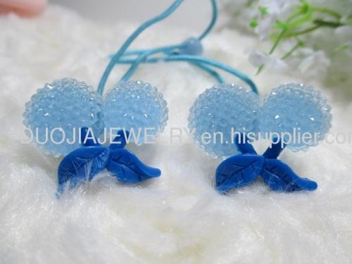 2012 fashion Fancy Handmade DBTS1102 Sweet Cherry Shape Hair Rubber Bands with Resin Design/Hair Elastic Bands