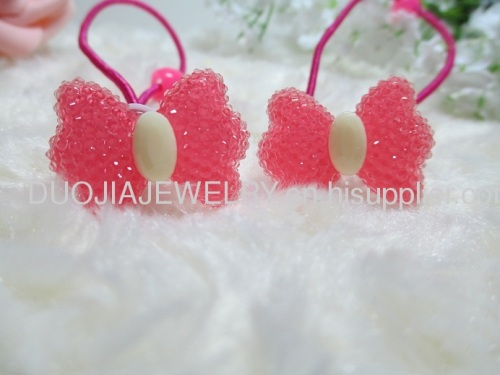 Fancy Handmade DBTS1104 beautiful butterfly Shape Hair Rubber Bands with Resin Design/Hair Elastic Bands