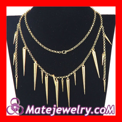 Long Spiked Chain Necklace Gold